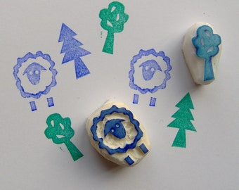 Lamb rubber stamp, tree stamp, set of 3, tree stamp, sheep stamp, rubber stamp, forest, woodland stamp, scrapbooking, cardmaking, wrapping