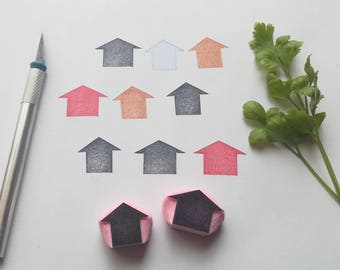 House silhouette rubber stamp, house silhouette stamp, house stamp, building stamp, geometric stamp, houses, rubber stamp, rubber stamps,diy