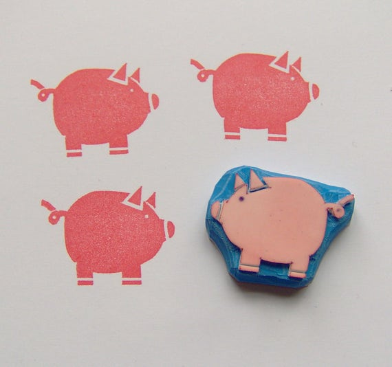 pig rubber stamp pig stamp piggy stamp animal stamp farm etsy