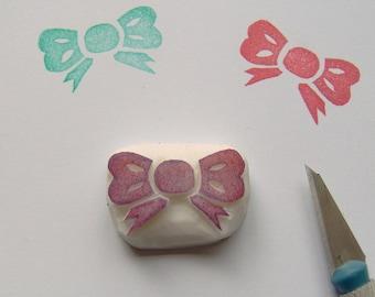 Bow rubber stamp, bow stamp, ribbon stamp, ribbon bow stamp, ribbon tied bow stamp, gift bow stamp, scrapbooking, cardmaking, diy, handmade