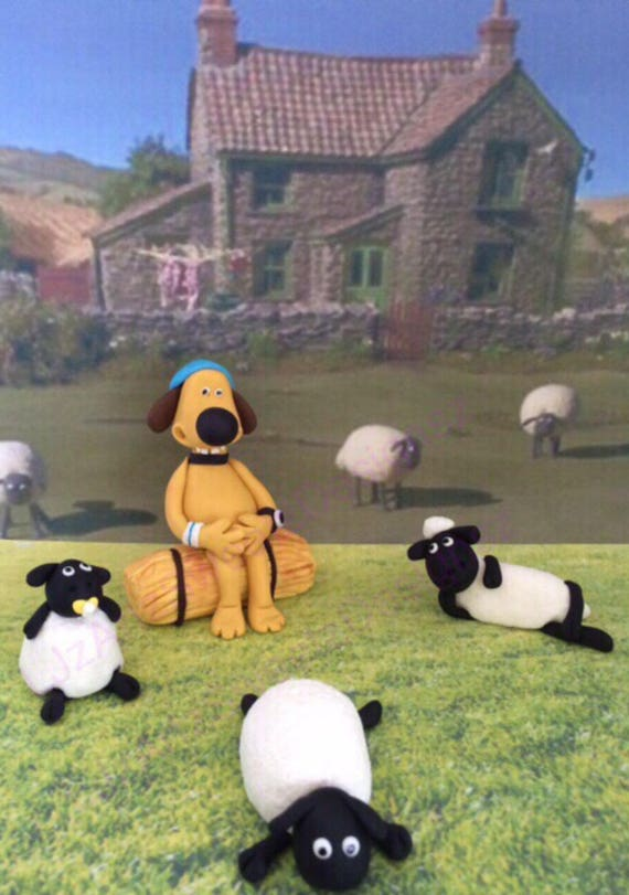 Shaun The Sheep Characters Fondant Cake Toppers Dog Worldwide
