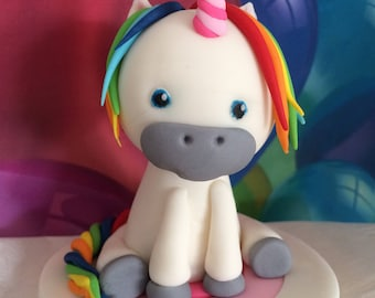 Cute Bright Rainbow Unicorn Cake Topper and Rainbow  Fondant Birthday Celebration Worldwide Shipping