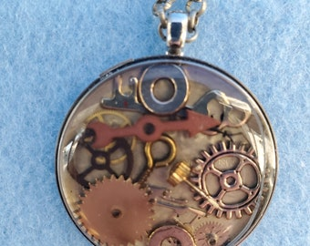 steampunk pendant, steampunk necklace, watch parts, resin,clear, one of a kind, handmade, woman owned business