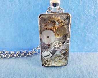 steampunk, pendant, watch parts, resin, polymer clay, woman owned, one of a kind, handmade