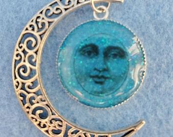 celestial face, moon, cresent moon, blue face, silver moon, small business, pendants
