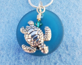 blue seaglass, turtle, pendants, silver, woman owned small business