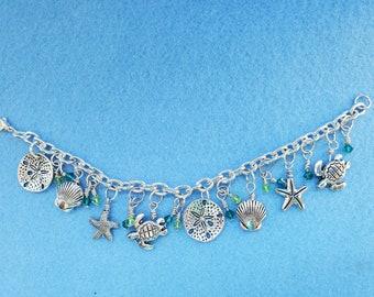 beach theme, sea animals charm bracelet, swarovski crystals, charm bracelet, silver bracelet, woman owned small business