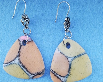polymer clay earrings, one of a kind, cell technique, alcohol inks, earrings