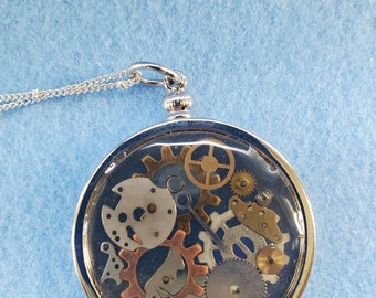 steampunk, pendant, watch parts, resin, woman owned, one of a kind, handmade