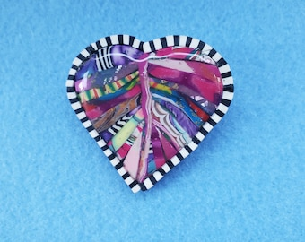 polymer clay, heart, resin, one of a kind, women owned business