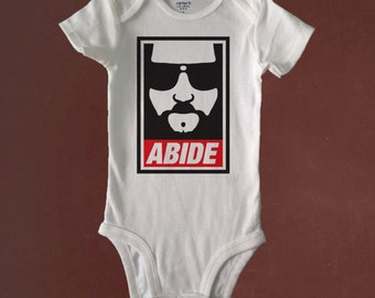 ABIDE, The Big Lebowski, Funny Bodysuit, Bodysuit or Toddler Tee, Baby Shower, Birthday, Gift, Beachy Baby Shop, Custom Made to Order