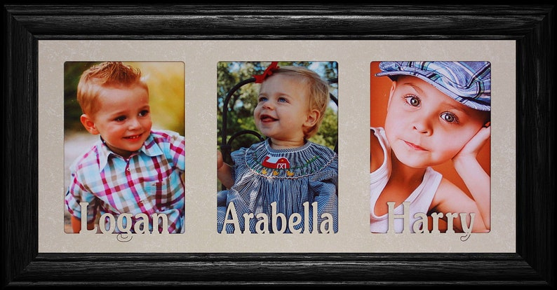 3 PERSONALIZED Three Opening Photo NAMEText Frame ~ Holds Portrait 4x6 or Cropped 5x7 Photos ~ Triple 5x7 Name Frame