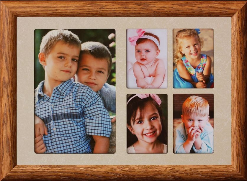 7x10 5-Opening Collage Photo Frame w/Cream Mat and Frame | Etsy