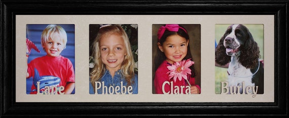 Personalized Four Opening Photo Name Frame Holds Four Etsy
