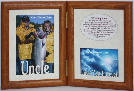 5x7 MISSING YOU Hinged Portrait  Memorial/Bereavement/Funeral/Sympathy/Condolence/Tribute Keepsake Frame  with Cream Marble Mats