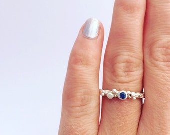Sapphire ring, sapphire stacking ring, silver sapphire ring, blob ring,