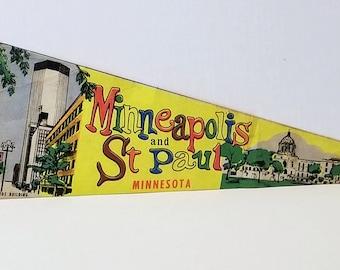 Minneapolis and St. Paul, Minnesota - Vintage Pennant