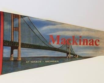 Mackinac Bridge, Michigan - Vintage Pennant