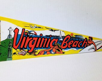 Virginia Beach, Virginia - Vintage Pennant