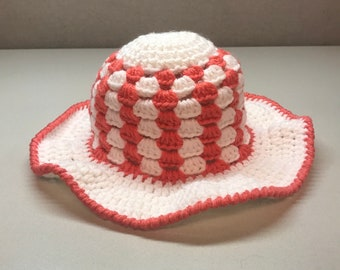 Pink and White Toddler Sun Hat