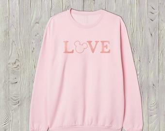 Love Mickey Sweatshirt .Theme park crew neck sweatshirt. Boyfriend sweatshirt. Sweatshirt Dress. Women's loose sweatshirt. Made by