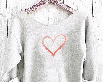 Valentines sweater. Off shoulder sweatshirt. Heart  sweatshirt. love sweater . Friendship  sweater Made by Pink lemonade apparel.