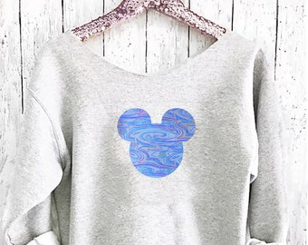 Mickey Off shoulder sweatshirt. Mickey sweatshirt. Disney sweater . Mickey sweater Made by Pink lemonade apparel.