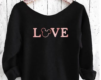 LOVE Mickey Off shoulder sweatshirt. Mickey sweatshirt. Disney sweater . Mickey sweater Made by Pink lemonade apparel.