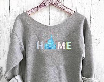 Home Off shoulder sweatshirt. Cinderella Castle sweatshirt. Disney sweater . Mickey sweater Made by Pink lemonade apparel.