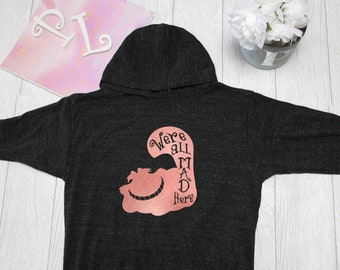 Disney Hoodie.Pink Lemonade  Cheshire Cat Hoodie. Alice in wonderland Light Weight Hoodie. Made by Pinklemonade.net