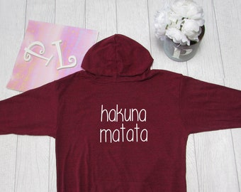 Hakuna Matata Hoodie. Disney  Hoodie. Disney Theme Park inspired  Light Weight Hoodie. Made by Pinklemonade.net