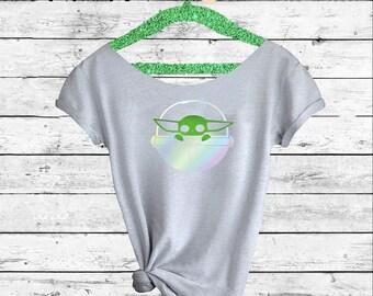 Baby Yoda. Star Wars. Baby Yoda Off-the-shoulder T-Shirt. Baby Yoda  t-shirt. Disneyland Star Wars. Disney t-shirt.Pink Lemonade Apparel