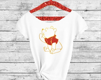 WINNIE THE POOH. Winnie Shirt. Disney shirt. Off-the-shoulder T-Shirt. Winnie shirt.Disneyland shirts. Pooh shirt.Pink Lemonade Apparel
