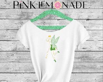 TINKER BELL. Tinker bell Off shoulder shirt.Peter Pan shirt. Tinker bell  shirt. Off shoulder shirt. Made by Pink Lemonade Apparel.