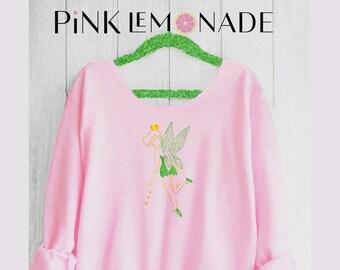 TINKER BELL. Tinker bell Off shoulder sweatshirt. Tink sweatshirt. Princess sweatshirt . Disney sweatshirt. Made by Pink Lemonade Apparel.