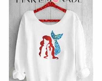 THE LITTLE MERMAID. Ariel Sweatshirt. Off shoulder sweatshirt.Disney Mermaid sweatshirt. Disney sweatshirt. Pink lemonade apparel.