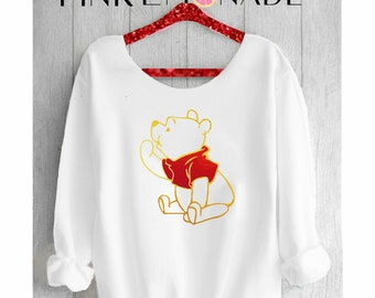 WINNIE THE POOH. Winnie the Pooh sweatshirt. Disney sweater. Off shoulder sweatshirt. Pooh sweatshirt. Disney sweatshirt PinkLemonadeApparel