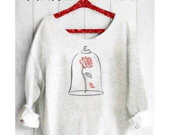 Beauty and the Baest.Belle Sweatshirt. Off shoulder sweatshirt.Belle Rose sweatshirt.Belle shirt.Disney sweatshirt. Pink lemonade apparel.