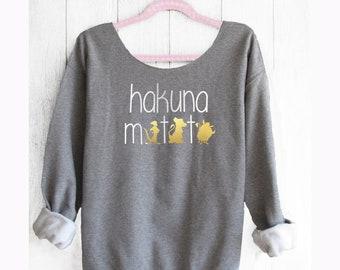 Hakuna Matata. The Lion King. Disney Off shoulder sweatshirt . Theme Park sweatshirt. Disney sweatshirt.  Made by Pinklemonade.net