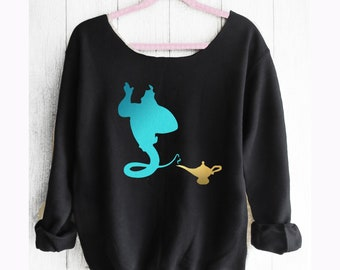Aladdin. Aladdin Genie Sweatshirt. Off shoulder sweatshirt. Genie sweatshirt. Disney sweater. Disney Sweatshirt. Pink lemonade apparel.