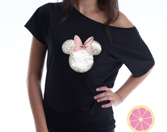 Minnie Mouse. Minnie Mouse off shoulder T-shirt. Over the shoulder shirt.  Disney shirt. Minnie shirt. off shoulder. Pink Lemonade apparel