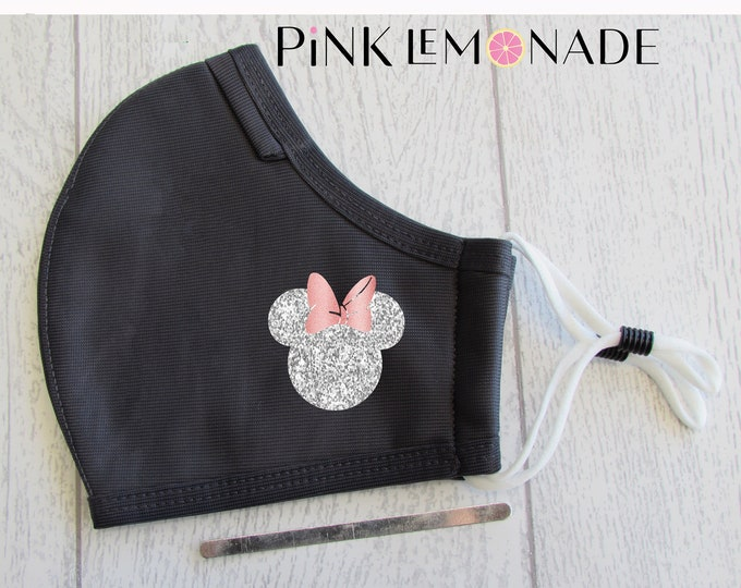 Featured listing image: Mask.MiNNIE Silver and rose glitter mask. Washable Face Mask, Face Mask with filter. Minnie Face Mask. Disney Face Mask.PinkLemonadeApparel