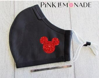 Mask. Mickey  Red glitter mask.Face Mask Washable Face Mask, Face Mask with filter. Adult Face Mask. Disney Face Mask.PinkLemonadeApparel