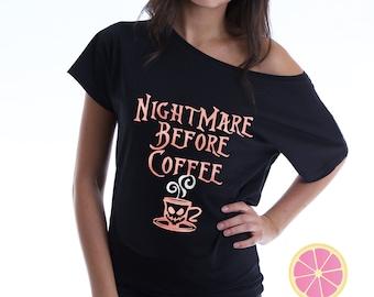 Nightmare before Coffee. Disney shirt- Nightmare Before Christmas.Disney Haunted Mansion. Coffee Off Shoulder shirt. Pink Lemonade Apparel