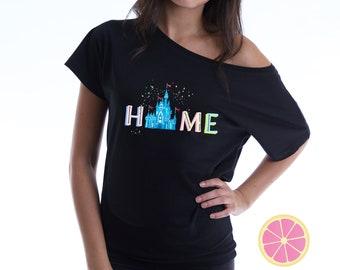 Disney Home. Home T-shirt.  Disney shirt- Womens Disney Shirt. Disney Castle shirt. Cinderella castle  made by Pink Lemonade Apparel