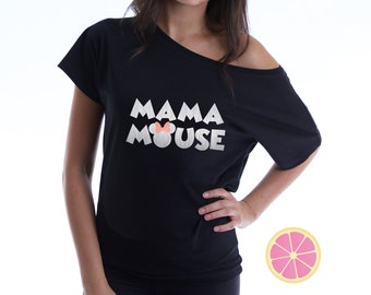 Mama Mouse. Mama Mouse off shoulder T-shirt. Over the shoulder shirt.  Disney shirt. Minnie shirt. off shoulder. Pink Lemonade apparel