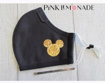 Mask. Mickey  Gold glitter mask.Face Mask Washable Face Mask, Face Mask with filter. Adult Face Mask. Disney Face Mask.PinkLemonadeApparel