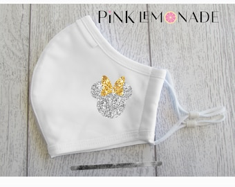 Mask.MiNNIE Silver and Gold glitter mask. Washable Face Mask, Face Mask with filter. Minnie Face Mask. Disney Face Mask.PinkLemonadeApparel
