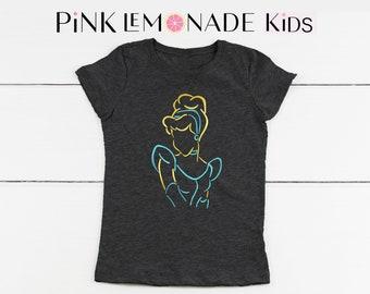 CINDERELLA.Kids T-shirt. Disney kids shirts.Cinderella Shirt.Cinderella Princess t-shirt. Kids Disneyland shirt. Pink Lemonade Apparel