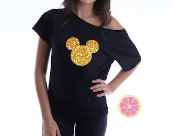 Mickey off shoulder T-shirt. Disney shirt. Boat neck t-shirt made by Pink Leomonade apparel